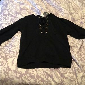 black lace up sweater